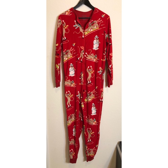 Christmas Jumpsuit Pajamas.Christmas Sock Monkey One Piece Jumpsuit Pajamas